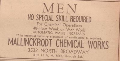 Mallinckrodt Chemical Works uranium processing ad
