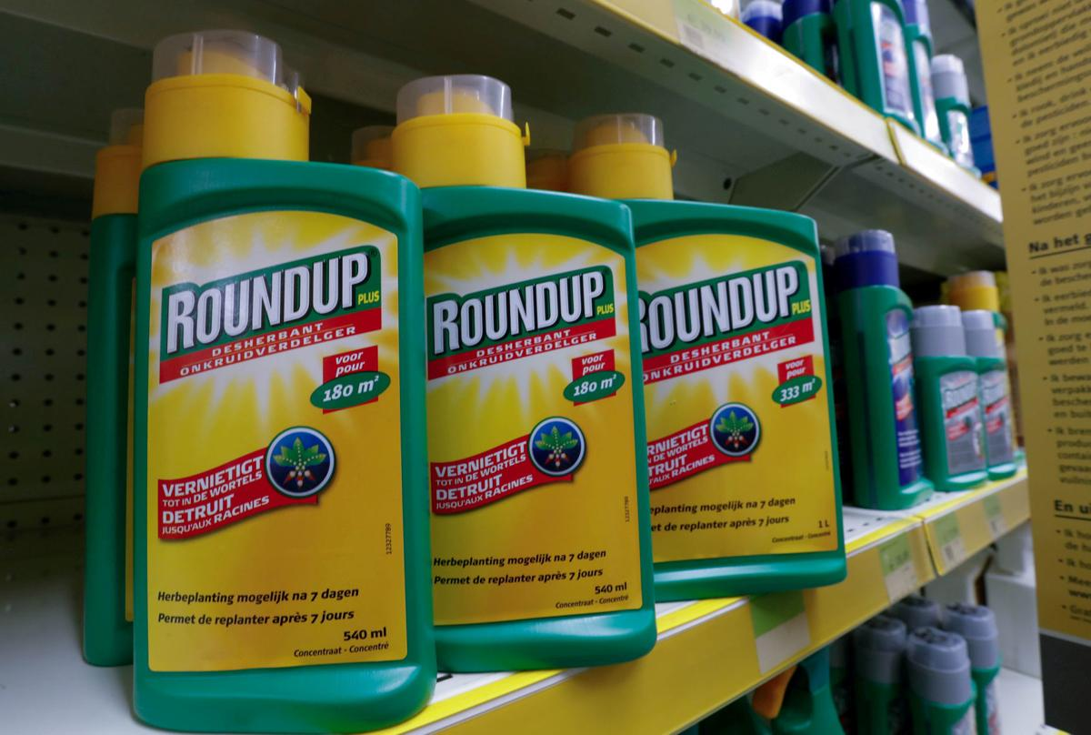 FILE PHOTO: Monsanto's Roundup weedkiller atomizers are displayed for sale at a garden shop near Brussels