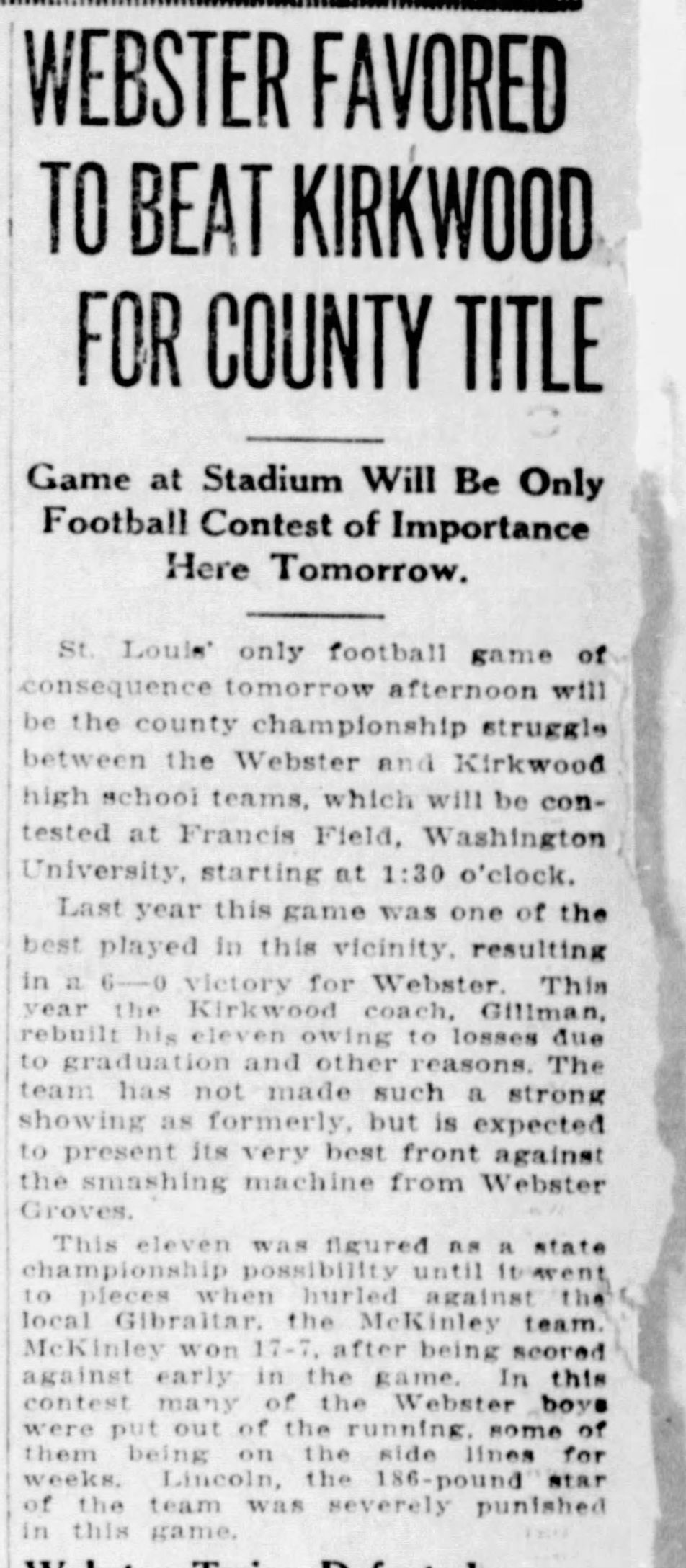 The Turkey Day Game: A look back at Webster Groves vs. Kirkwood