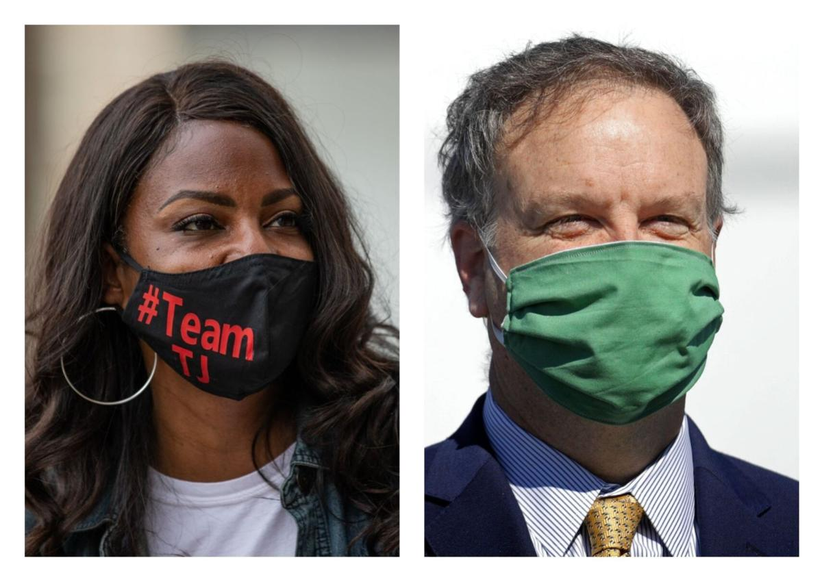 Jones and Page wearing masks.