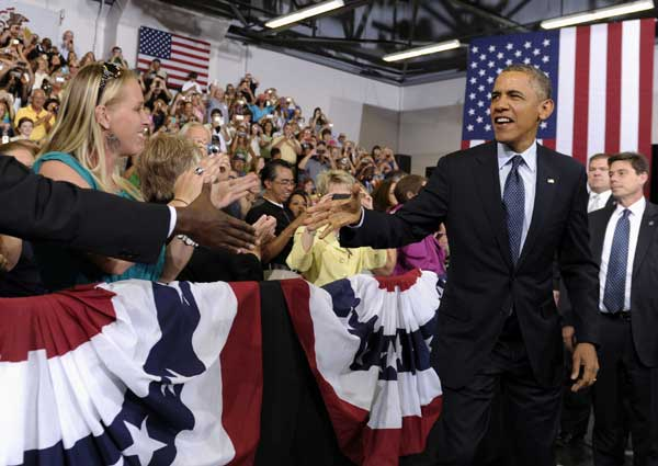 President Obama shakes hands in Galesburg, Ill