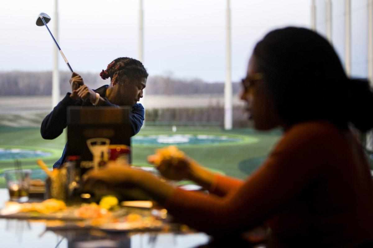 Family and friends at Topgolf