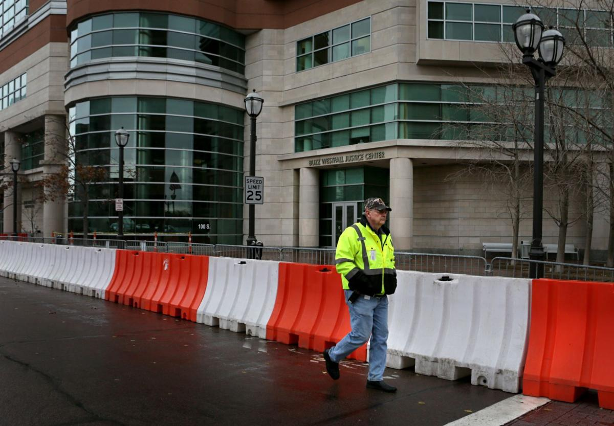 Barricades put up around Justic Center in Clayton