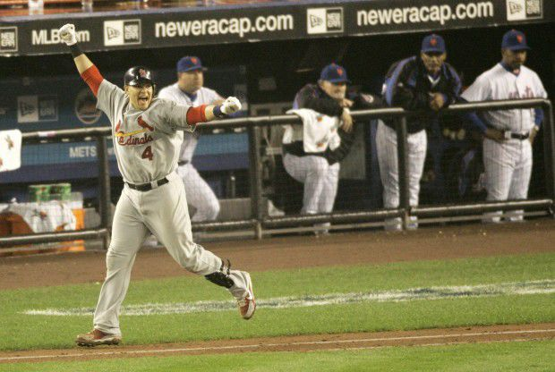 Molina celebrates 9th inning home run in NLCS Game 7, 2006