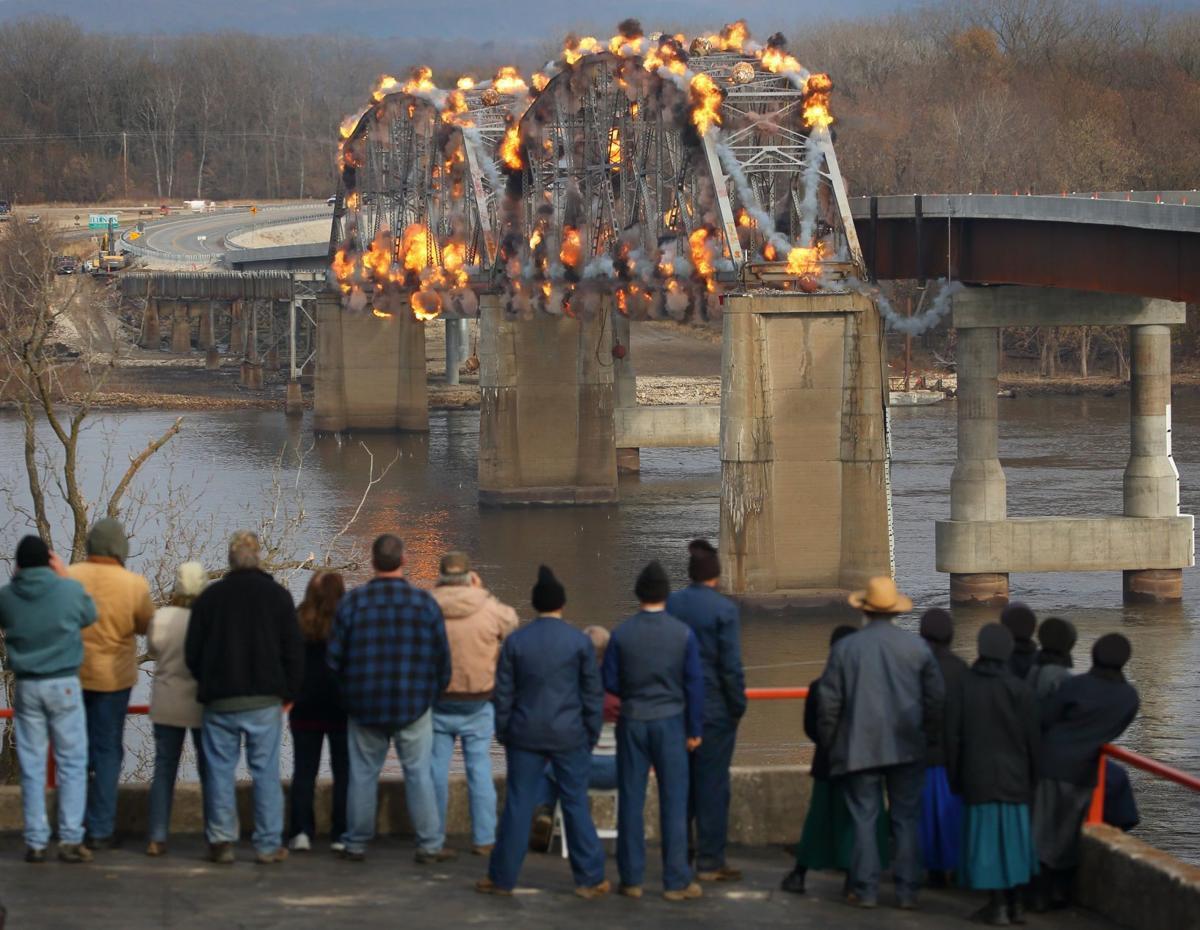 Photos: Final section of old Champ Clark Bridge demolished in Louisiana, Mo.