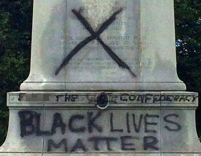 Confederate Memorial in Forest Park spray painted