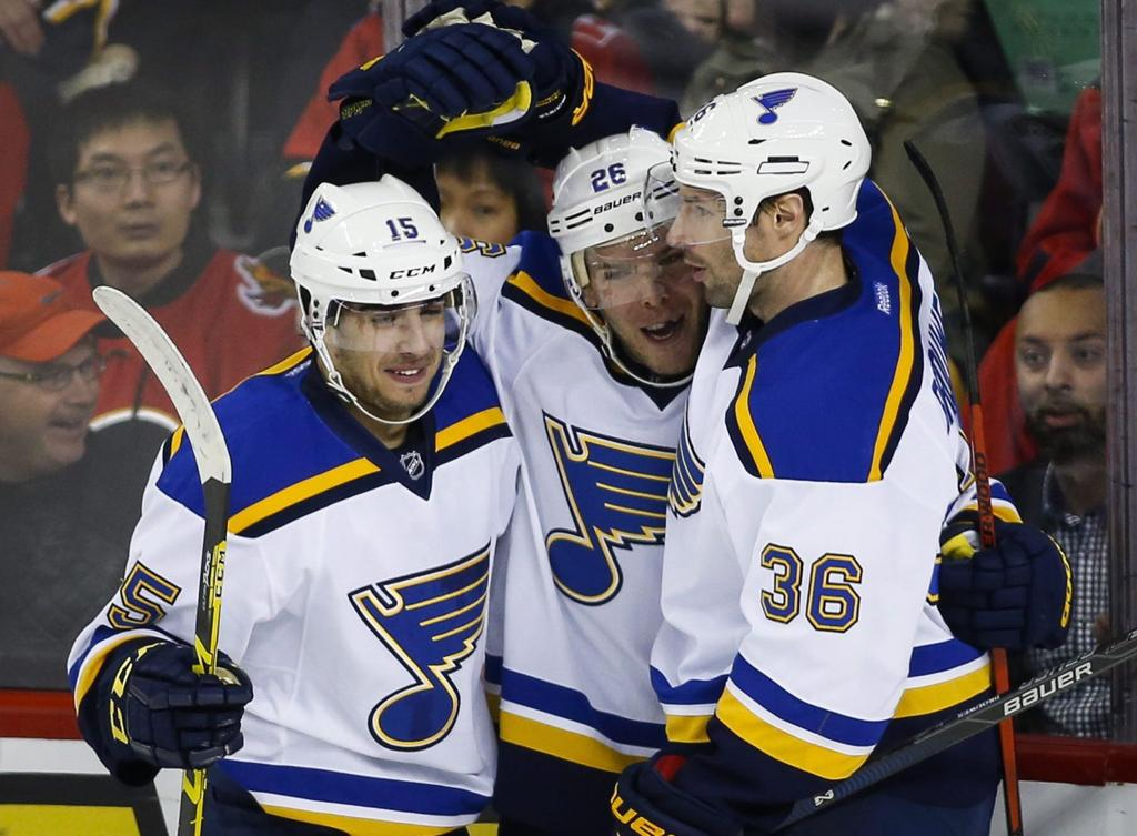 Blues want to avoid track meet with edmonton st louis blues st louis blues paul stastny center celebrates a goal with teammates robby fabbri left and troy brouwe jeff mcintoshthe canadian press via ap m4hsunfo