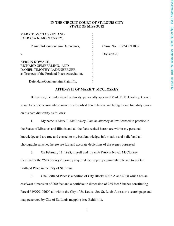 McCloskey affidavit