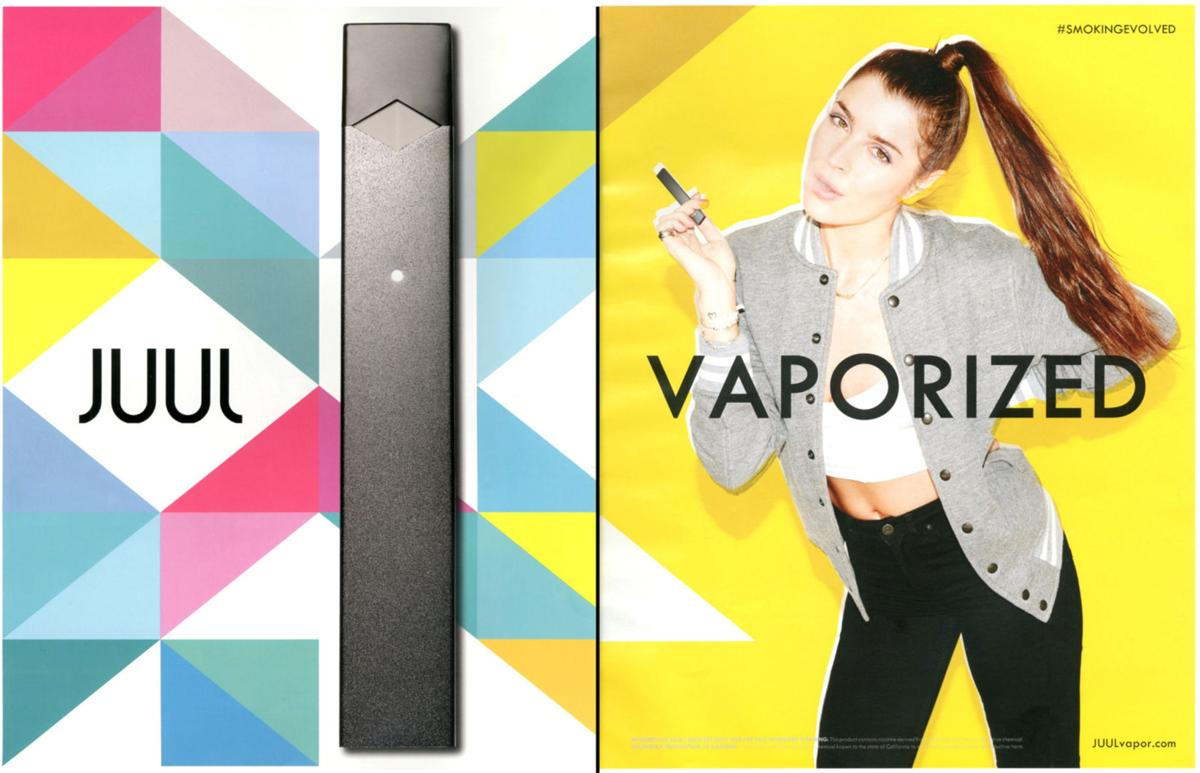 A screenshot shows 2015 advertising for Juul products displayed in a print magazine