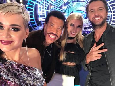 Ashley Lusk with Katy Perry (left), Lionel Richie and Luke Bryan