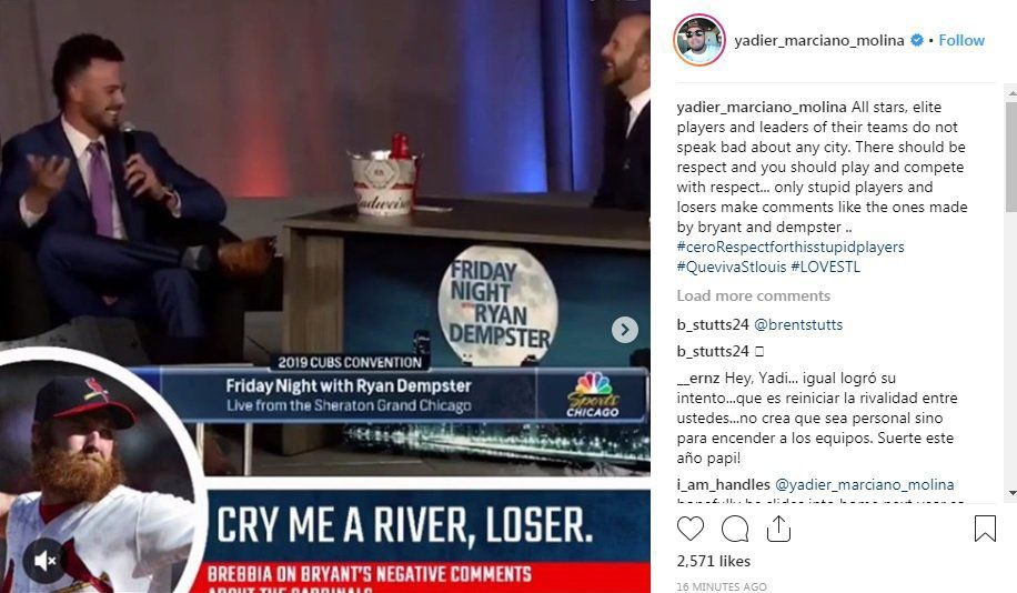 Hochman: Yadier Molina passionately responds to remarks by Cubs' Kris Bryant about St. Louis