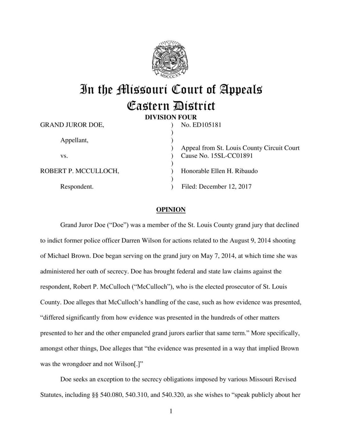 Missouri Eastern District appeals court ruling