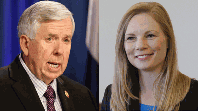 Mike Parson and Nicole Galloway