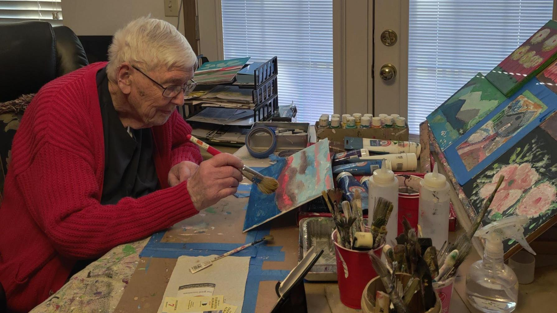 At age 97, he gets his first art show