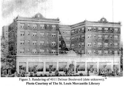 Early image, date unknown, of 4011 Delmar building, completed in 1928