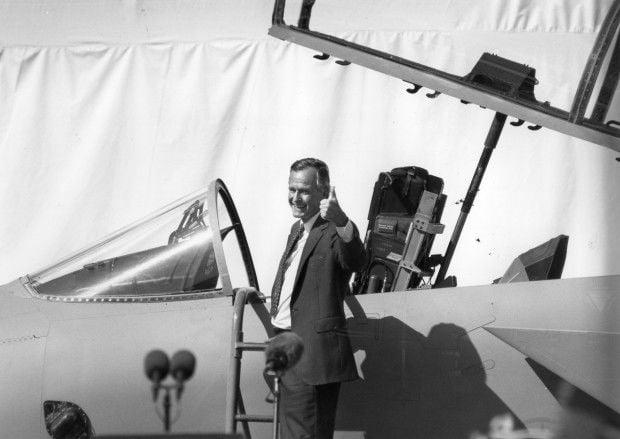 President George H.W. Bush at McDonnell Douglas Corp.