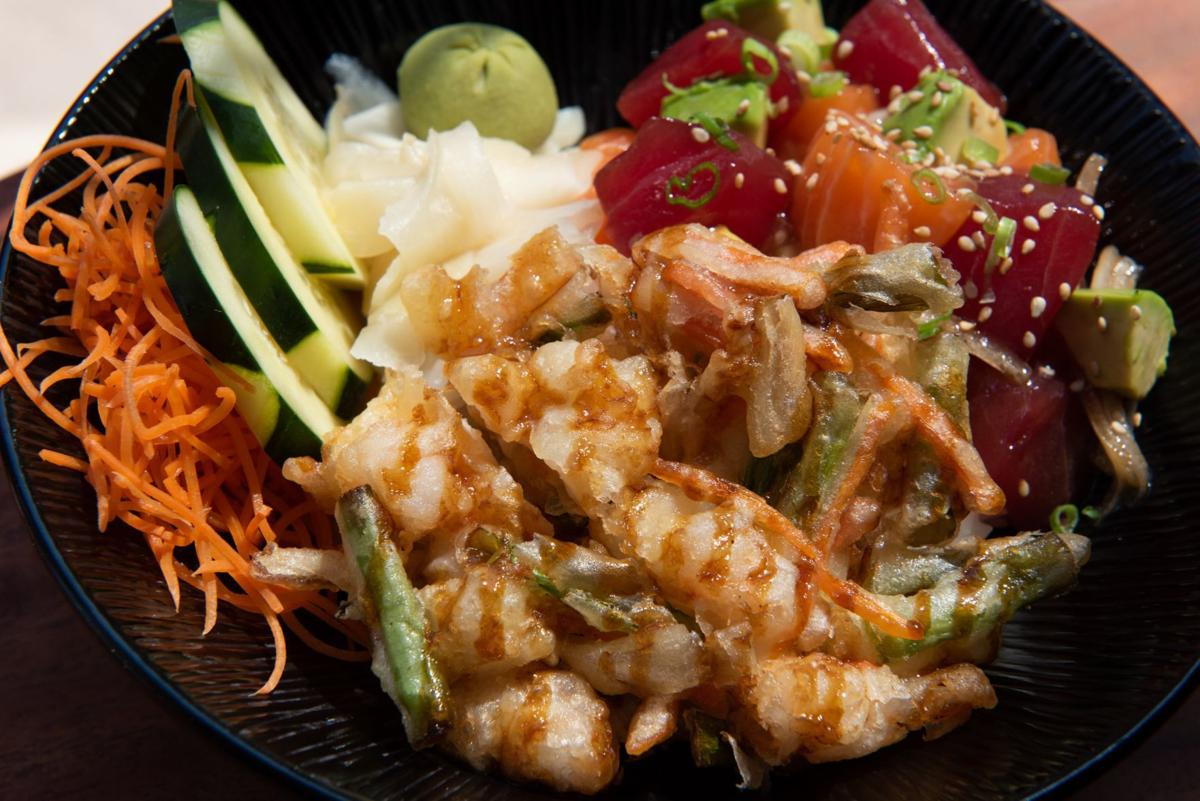 Hawaiian Poke Bowl With Ahi Tuna Salmon Tartare Avocado And Seafood Tempura Served On A Of Rice Is Featured Menu Item At Vp Square