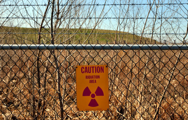 Radioactive sign at West Lake landfill in Bridgeton