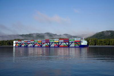 Rendering of inland container vessels planned for the Mississippi River