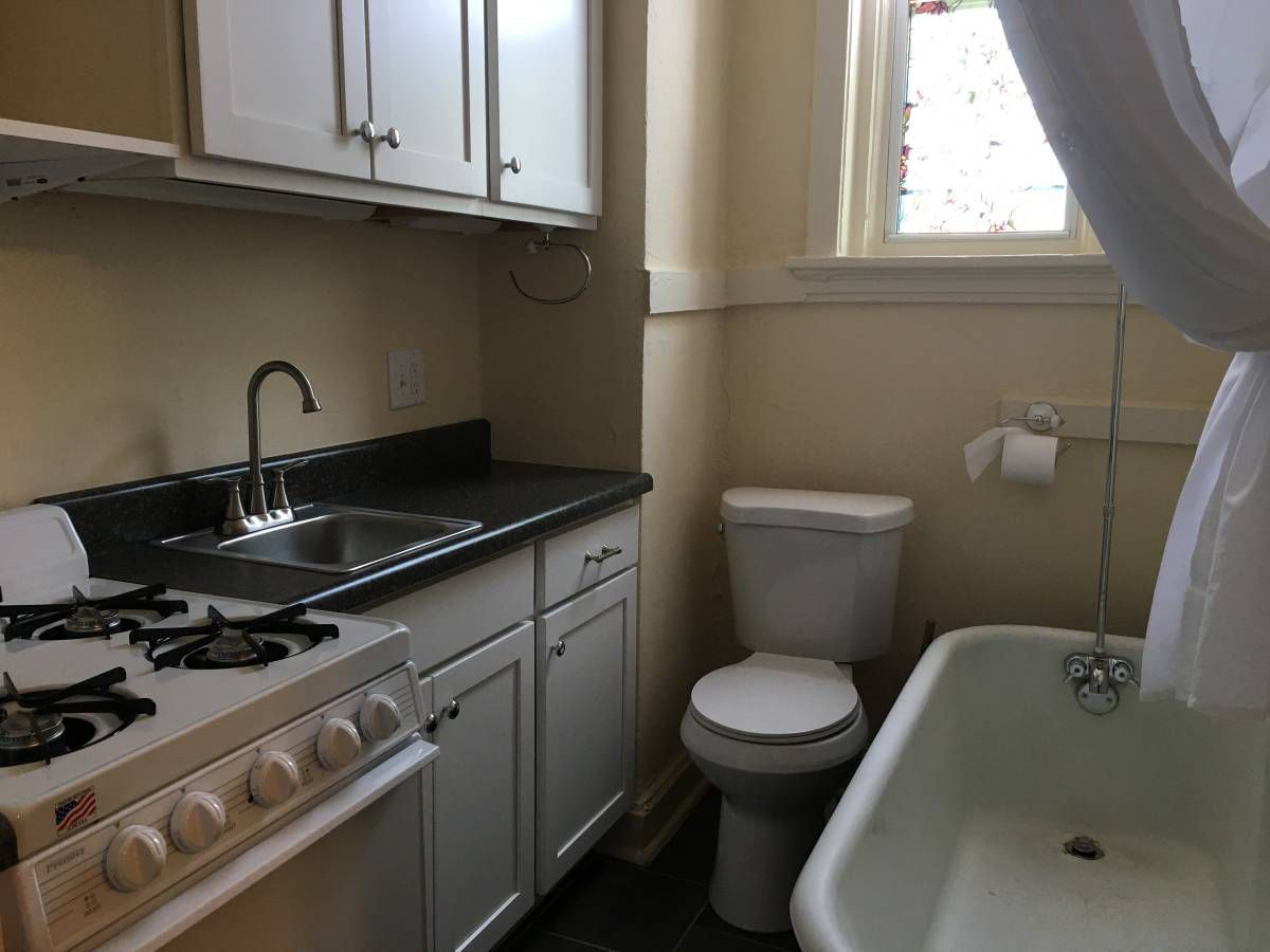 The Combined Kitchen Bathroom At 4917 McPherson In The Central West End.  (image From Craigslist Ad)