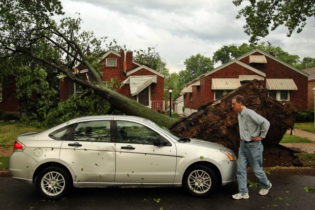 Storm damages house in south St. Louis.