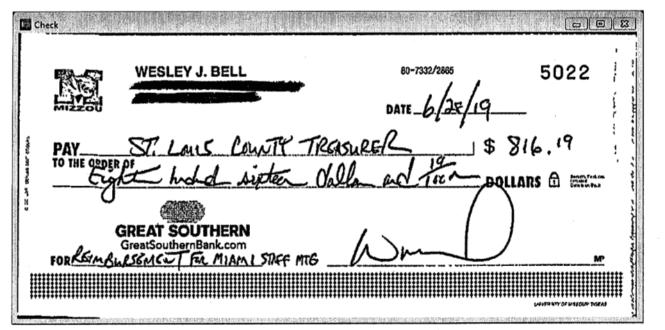 Wesley Bell's June 28, 2019, reimbursement check for Prime 112 dinner