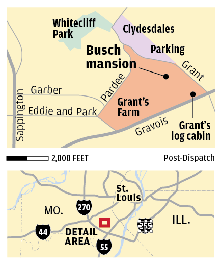 Busch mansion at Grant's Farm map | | stltoday.com on