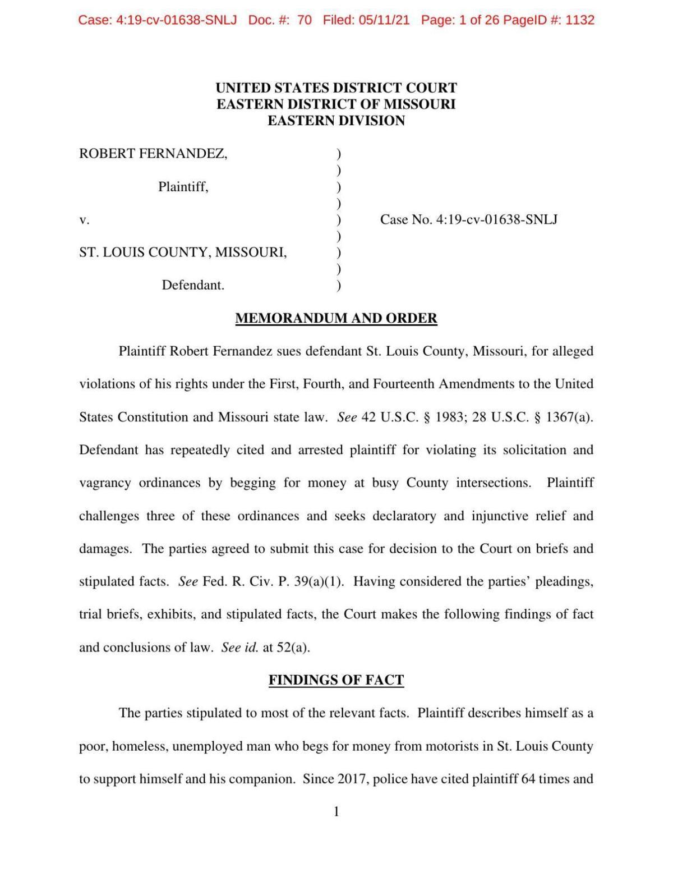 Fernandez memorandum and order