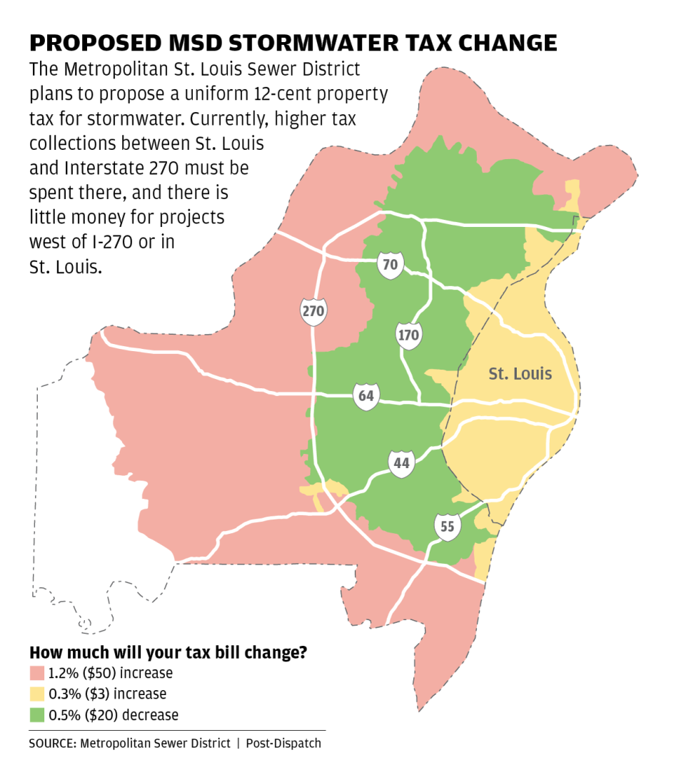Map: Proposed MSD stormwater tax change
