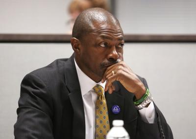 St. Louis superintendent Kelvin Adams listens to teachers