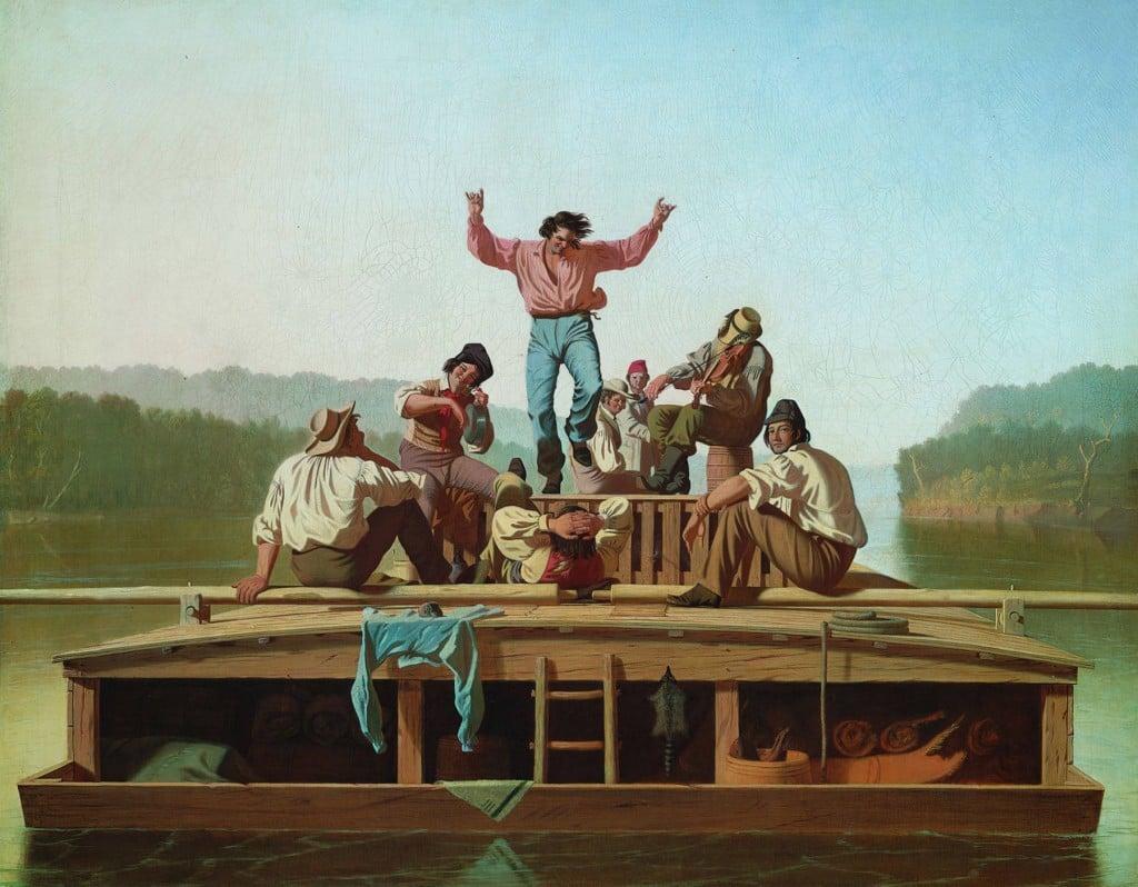 THE AMERICAN FLATBOAT RIVER MEN LANDSCAPE PAINTING ART REAL CANVAS PRINT