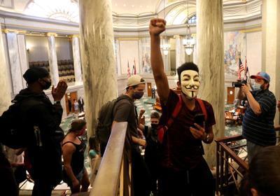 Demonstrators protest crime bill inside Senate