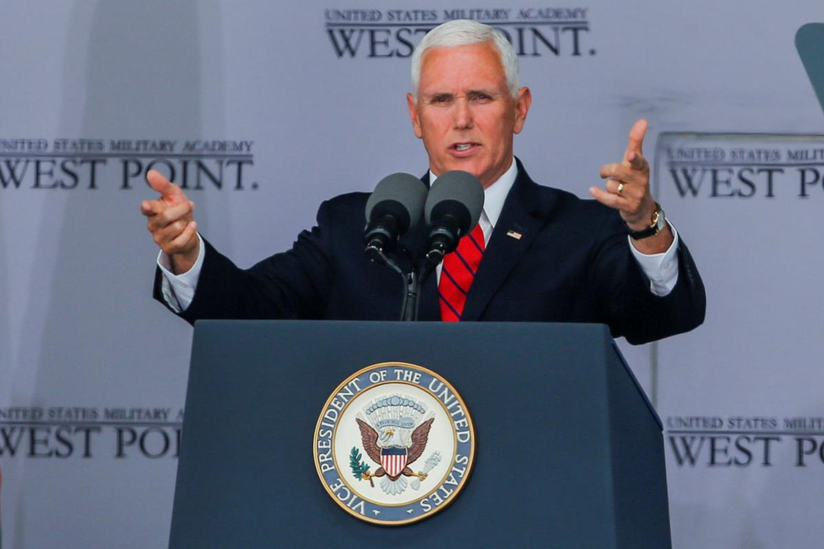 U.S. Vice President Pence speaks to graduates of the United States Military Academy during the commencement ceremony in West Point, New York