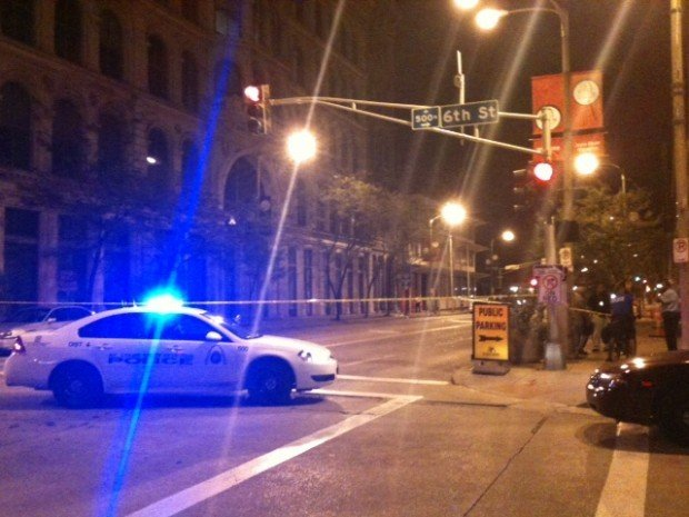 Police at the scene of a stabbing on Washington Avenue.