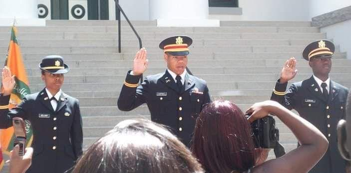 Keontra Campbell swearing in as a United States Army officer, 2011