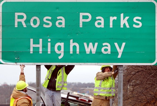 Vandalized Rosa Parks Highway Sign In St Louis County To