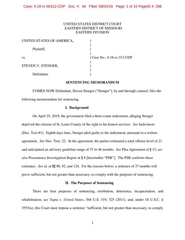 Read what Stenger's defense attorney wrote in his sentencing memo