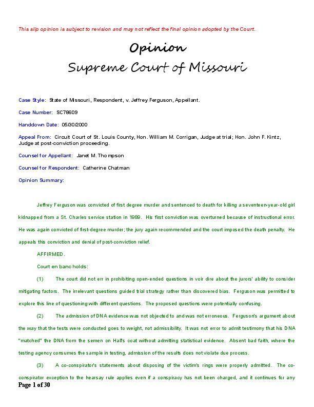 Missouri Supreme Court rejects Jeffrey Ferguson appeal