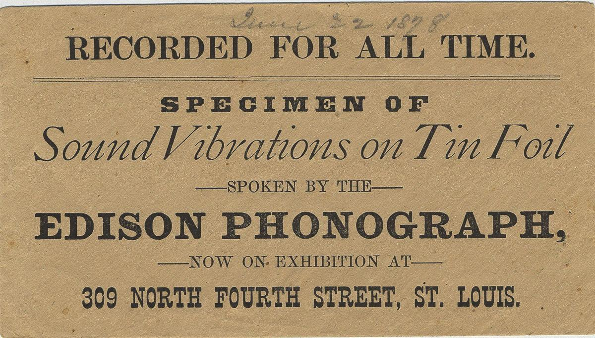 Advertisement touting Thomas Edison's appearance in St. Louis