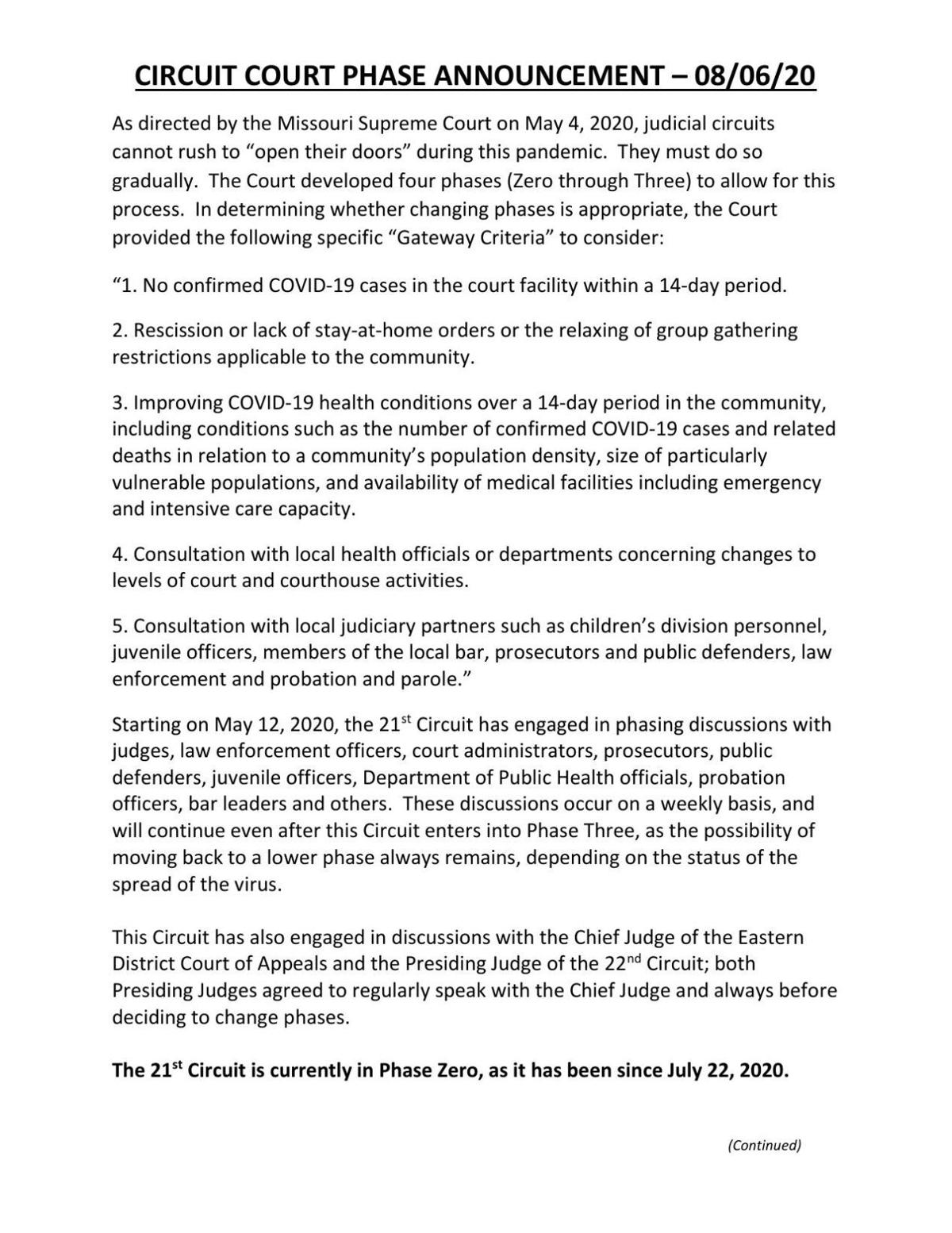 St. Louis County Circuit Court Phase Announcement