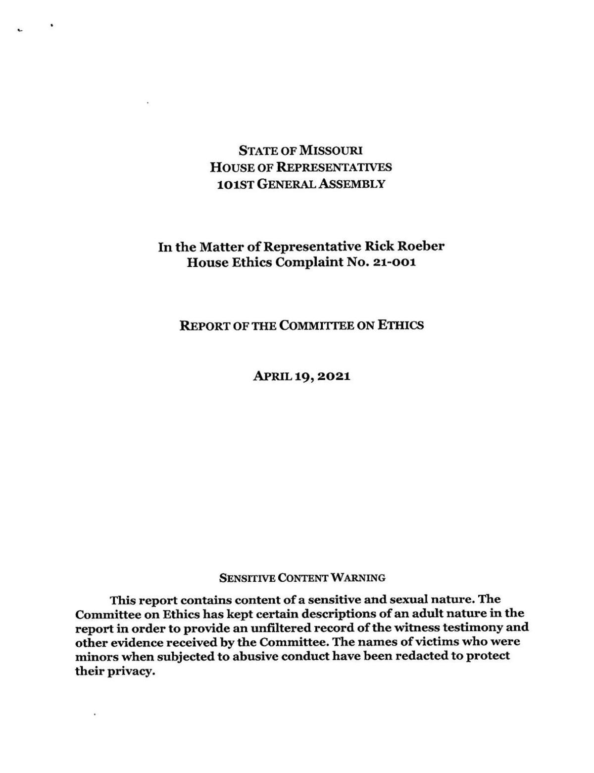 House Ethics Committee report on Rep. Rick Roeber