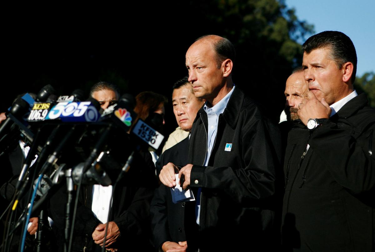 FILE PHOTO: PG&E President Chris Johns speaks at news conference in the aftermath of a gas line explosion in San Bruno