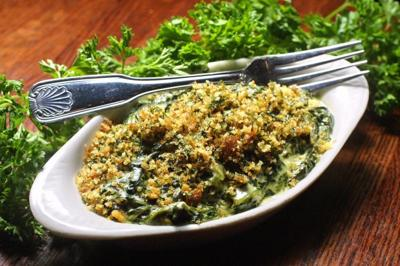 Southern spinach is baked in cream sauce