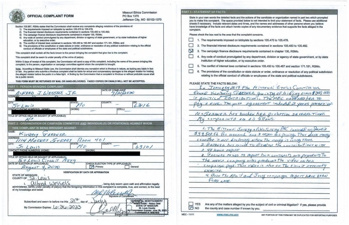 Complaint filed by Fred Wessels