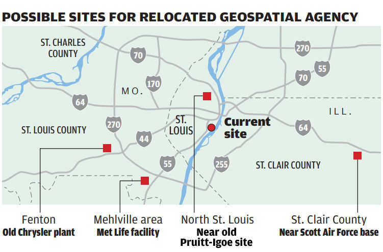 Four possible National Geospatial-Intelligence Agency sites