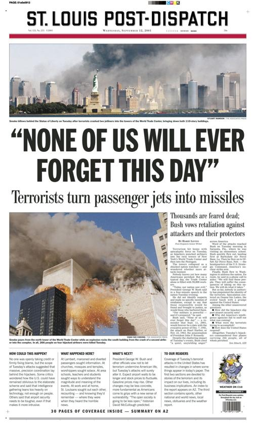 Post-Dispatch front page from 9/12/2001