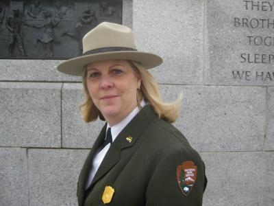 Peggy O'Dell pictured at the National World War II Memorial in Washington two years ago. O'Dell today began her new position as deputy director in the National Park Service.