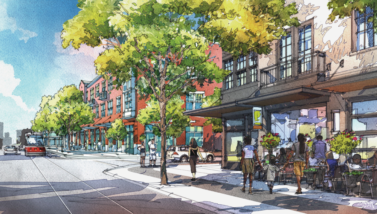 An artist's rendering of a redeveloped 14th Street
