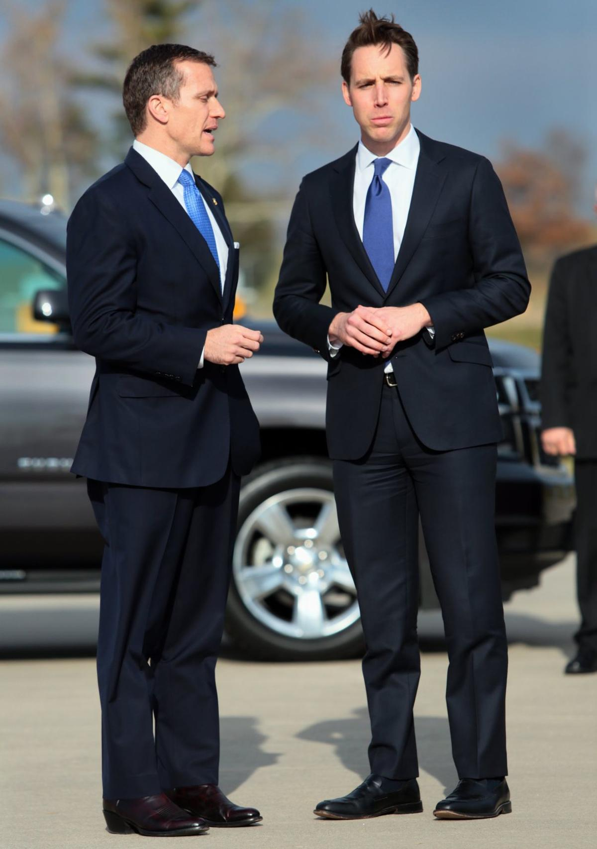 Greitens, Hawley on hand for Trump visit