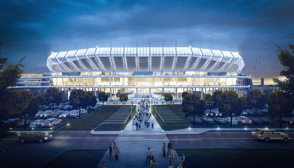 Proposed riverfront stadium, west tailgate approach view